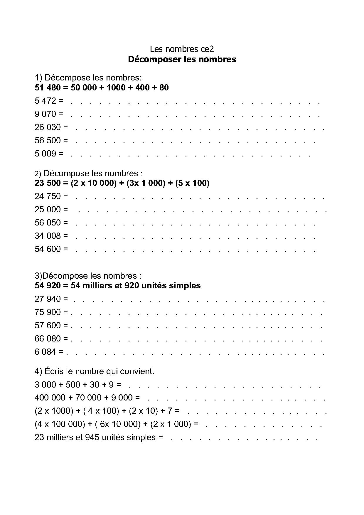 les grands nombres exercices num ration ce2 cm1 cm2 d composer les nombres. Black Bedroom Furniture Sets. Home Design Ideas