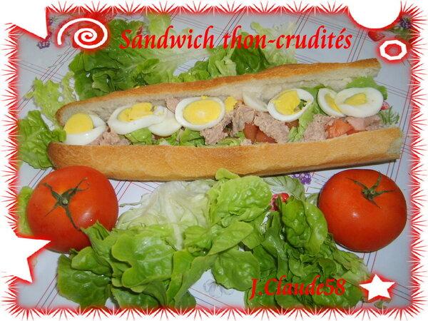 Sandwich thon-crudités