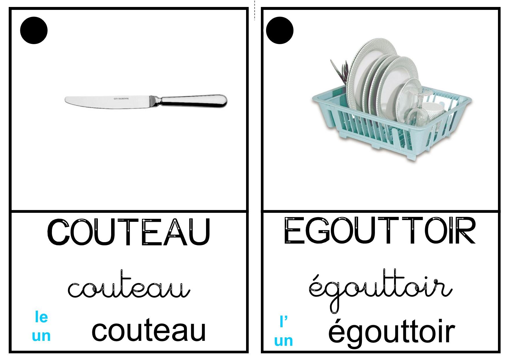 Imagier cuisine maternelle for Salle de bain vocabulaire