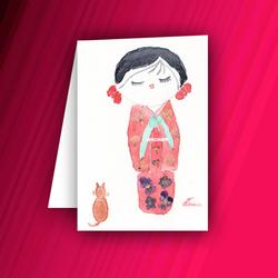 Carte avec poupée kokeshi et son chat