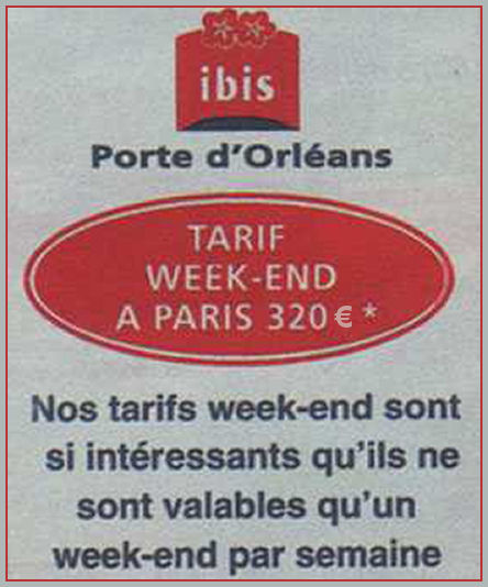 Tarifs Week-end
