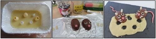 Les souris et leur morceau de gruyère (trompe-oeil au chocolat)