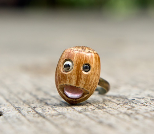 Nutty Harry --- Bague en plaqué noisette