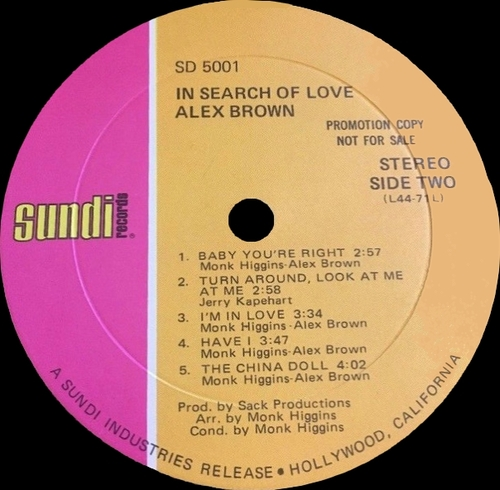 "Alex Brown : Album "" In Search Of Love "" Sundi Records SD 5001 [ US ]"