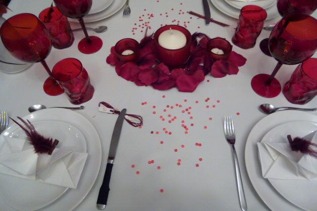 Table rouge et blanche tables festives - Table amoureux ...