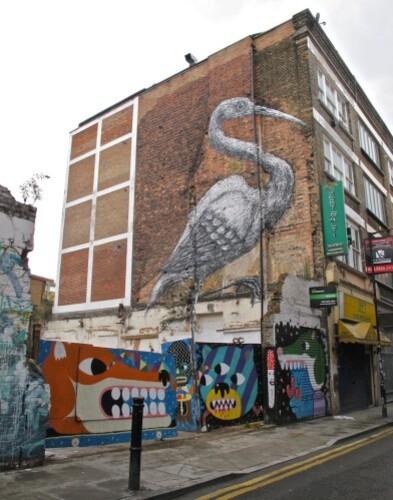 Londres Hanbury street-art Roa héron 8