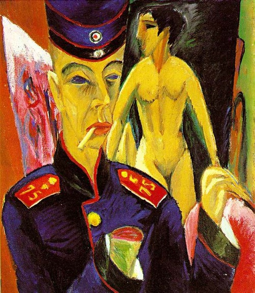 Ernst Ludwig Kirchner, self portrait as a soldier, 1915. Memorial Art Museum, Oberlin College.