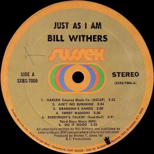 "Bill Withers : Album "" Just As I Am "" Sussex Records SXBS 7006 [ US ]"