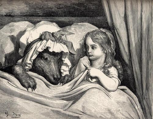 Le Petit Chaperon Rouge et le loup déguisé en mère-grand
