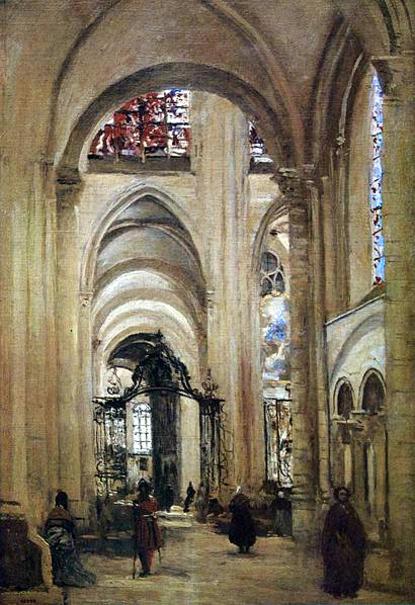 intérieur de la cathédrale de Sens - 1874 - 61x40cm