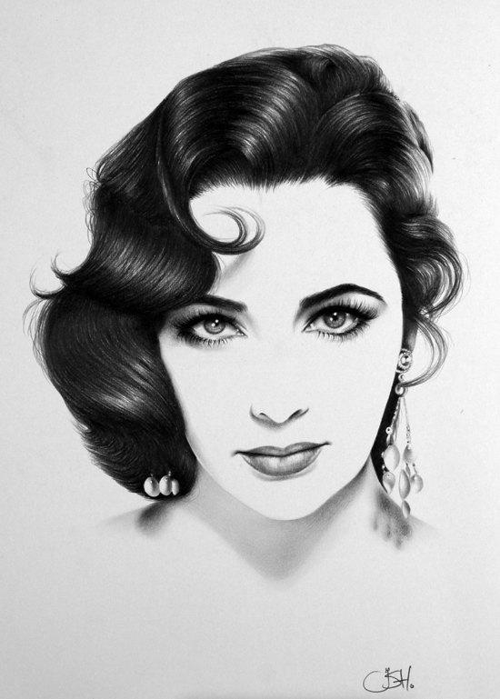 Elizabeth Taylor Portrait minimalisme crayon dessin beaux-arts signé imprimer
