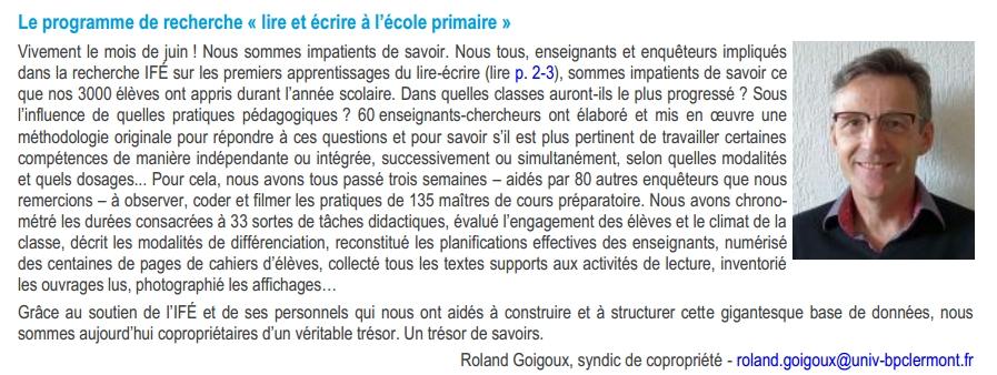 """Enquête Goigoux sur les pratiques pédagogique au cours préparatoire (Recherche """"Lire et écrire entre 5 et 8 ans"""")"""
