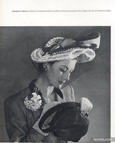 Gilbert Orcel (Millinery) 1947 Fashion Photography Hat, Violette Cornille: