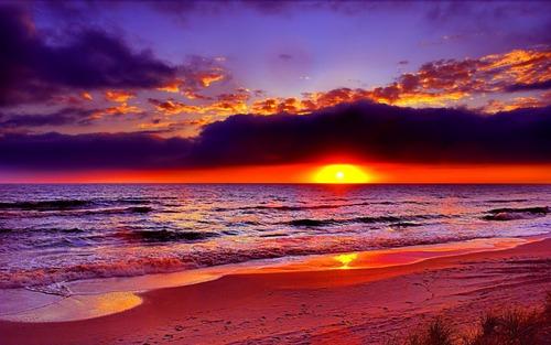 Couché de soleil à la mer