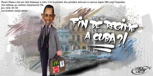 JERC 2016-03-28, caricature Barack Obama. Esclavage à Cuba, mais capitaliste maintenant!! www.facebook.com/jercdessin Cliquer sur la photo pour voir en plus grand