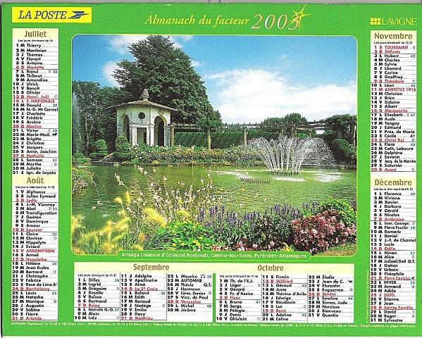 Calendrier du facteur 2S2003