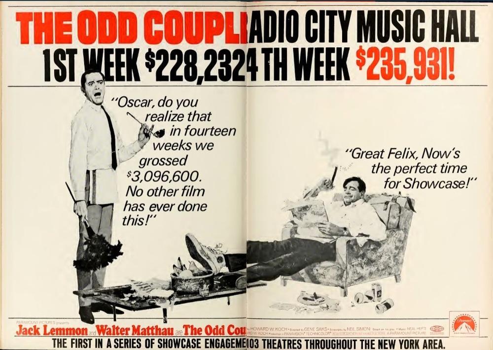 the odd couple record box office 1968 radio city hall new york