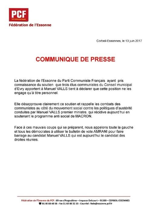 TAMBOUILLE ÉLECTORALE dans L'Essonne : les élus communistes d'Évry soutiennent Manuel VALLS ! - Mise au point de la fédération du PCF