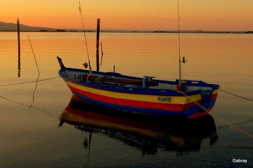 Le Barcarès : coucher de soleil sur l'étang ...