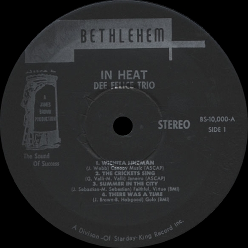 "The Dee Felice Trio : Album "" In Heat "" Bethlehem Records BS-10,000 [ US ]"