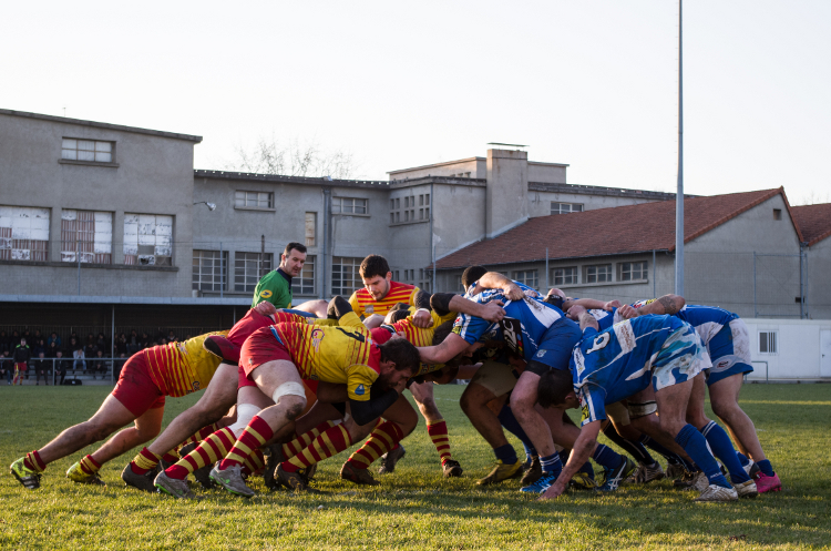 Rugby, stade Giraud, rencontre Roanne XV - Feurs, décembre 2015