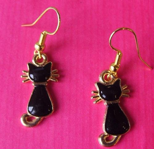 Boucles d'oreilles chats noirs
