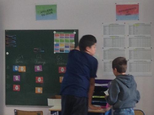 Les élèves vont chercher leurs entraînements ou évaluations et cochent les grilles lorsque l'évaluation est réussie