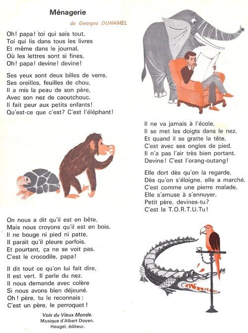 Georges Duhamel - Ménagerie (poésie)