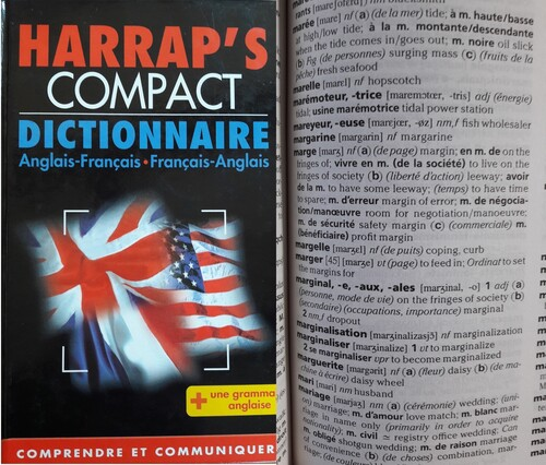 Marginal à travers le dictionnaire