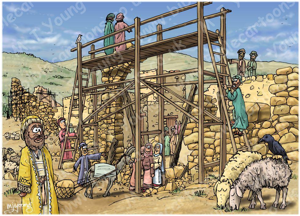 Néhémie 03 - Reconstruire les murs de Jérusalem - Scène 01 - Eliashib reconstruit la porte des moutons 980x706px col.jpg
