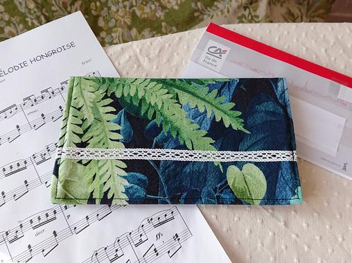 Porte chéquier / Porte-cartes tissu coton vert-bleu forêt tropicale 11,3 x 19,5 cm