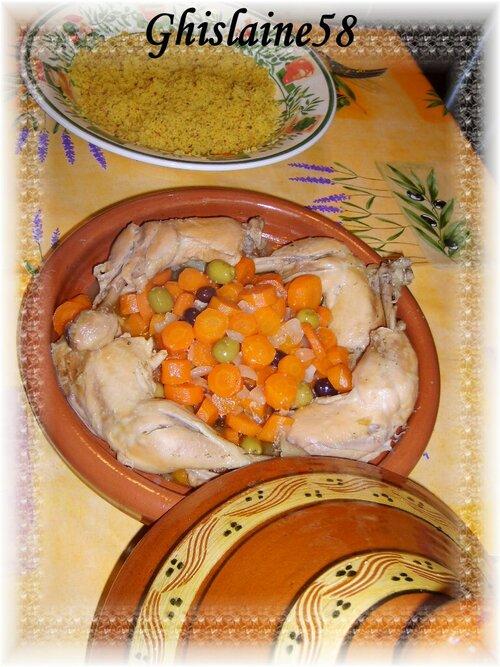 Tajine de poulet aux carottes et olives