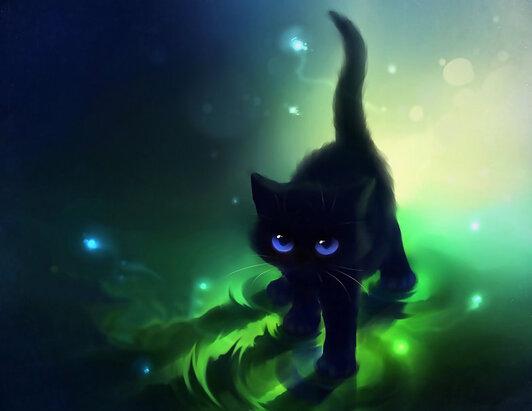 chat noir aux yeux bleus Wallpaper