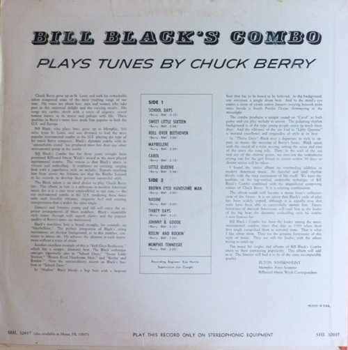 "Bill Black's Combo : Album "" Plays Tunes By Chuck Berry "" Hi Records HL 12017 [ US ]"