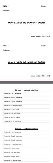 gestion de classe : carnet de comportement et affichage