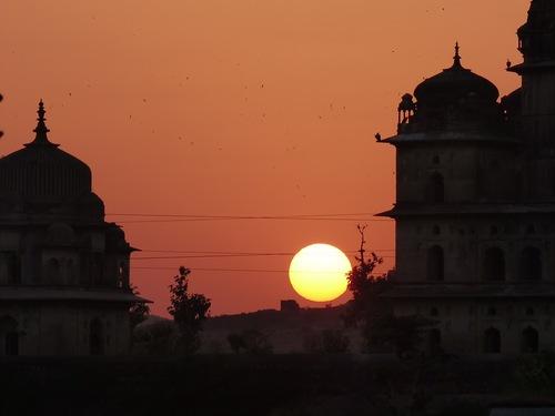coucher de soleil sur Orccha
