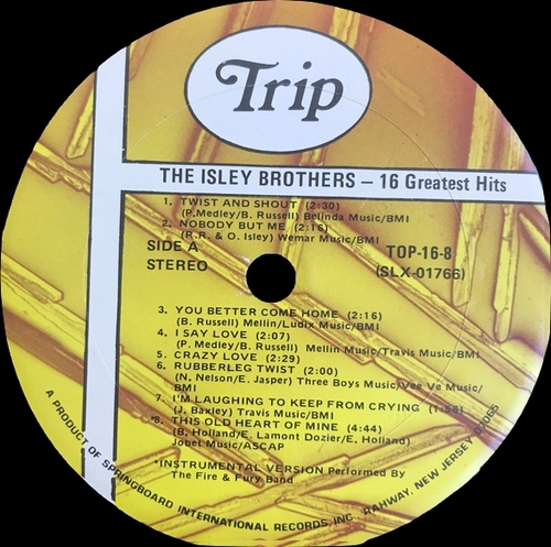 "The Isley Brothers : Album "" 16 Greatest Hits Of The Isley Brothers "" Trip Records TOP-16-8 [ US ]"