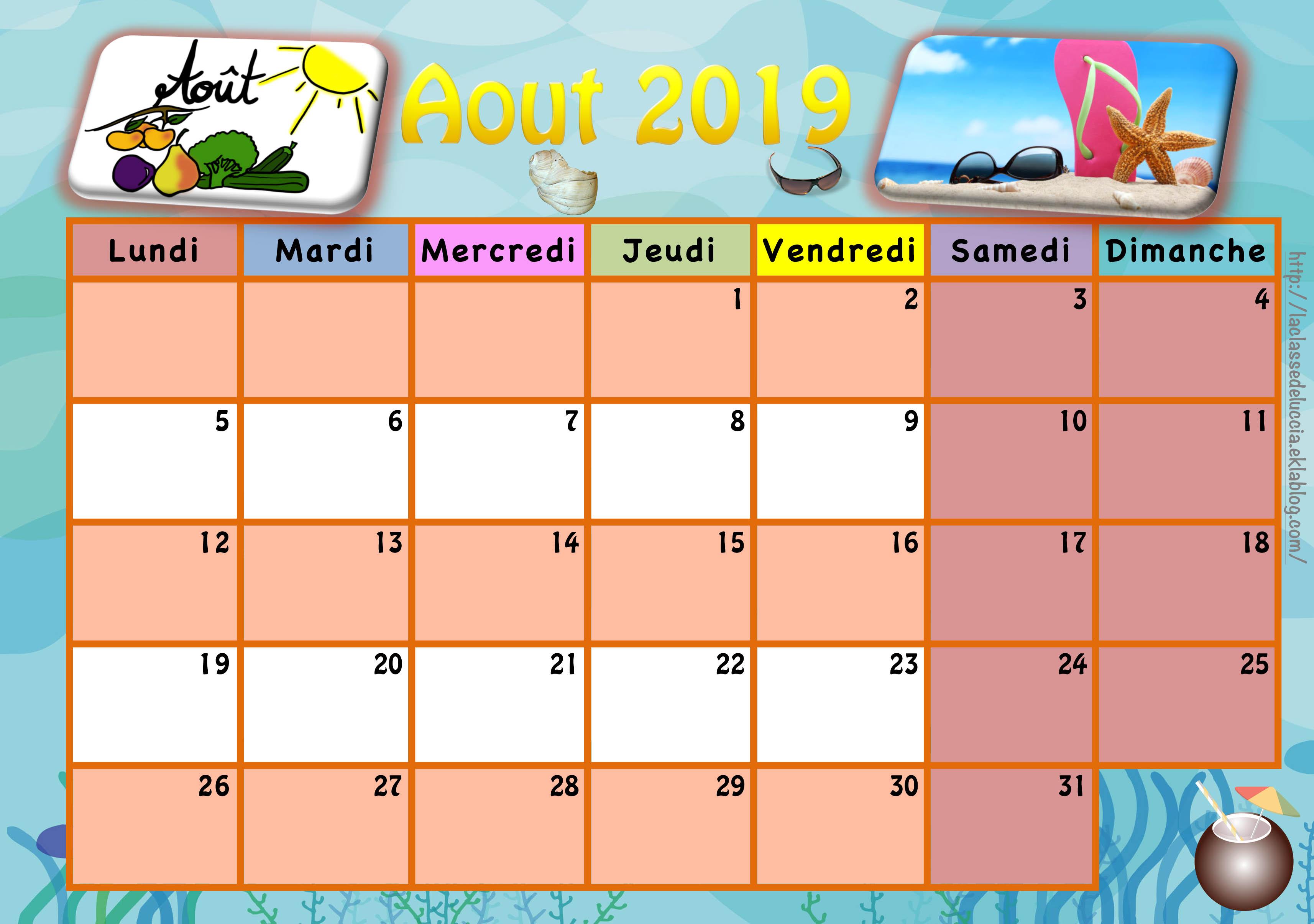 Calendrier Septembre 2020 Aout 2019.Calendrier Enfant 2019 2020 La Classe De Luccia