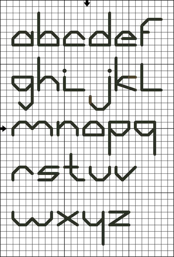 Free Lowercase Back Stitch Alphabet Chart - Cross Stitch and Back Stitch Alphabets