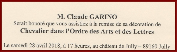 Claude Garino a été fait Chevalier dans l'ordre des Arts et des Lettres par Françoise Nyssen, Ministre de la Culture