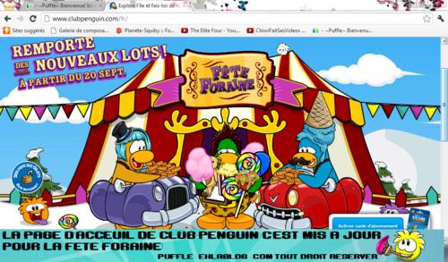La page d'acceuil de club-penguin se met à la fête foraine