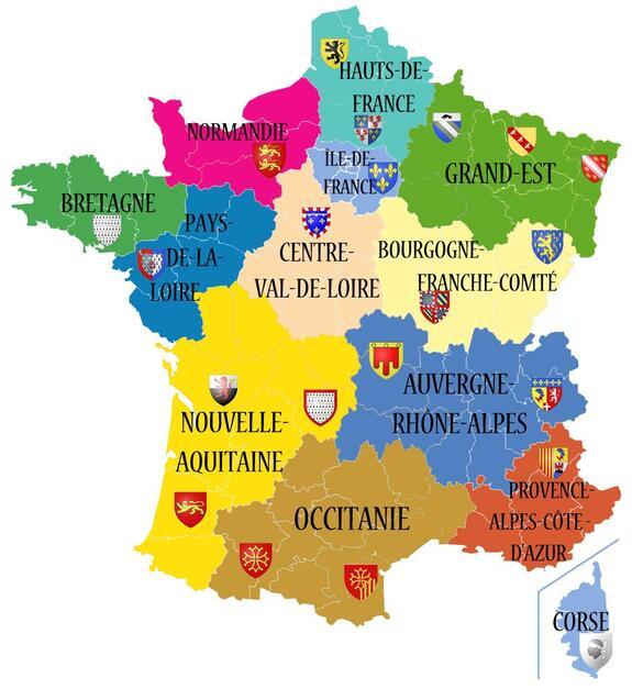 Porte-clés géographie : avec les nouvelles régions