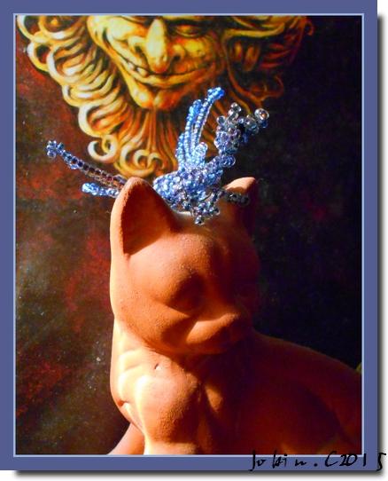 Dragon bleu en perles de rocaille