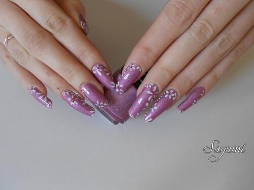 Nail Art Fleurs de Cerisier blanches