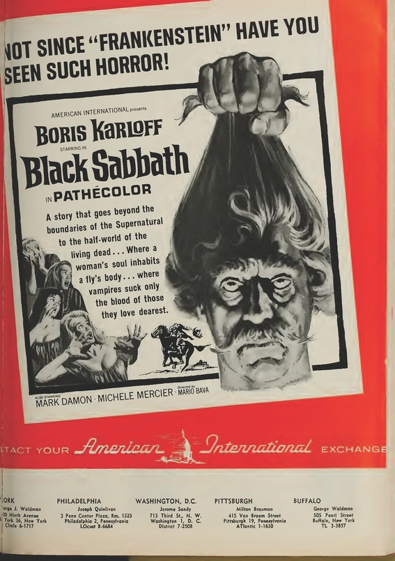 BLACK SABBATH BOX OFFICE USA 1964