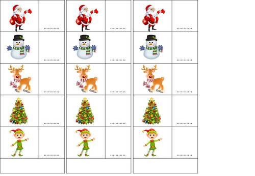 dénombrement d'une collection sur le thème de Noël
