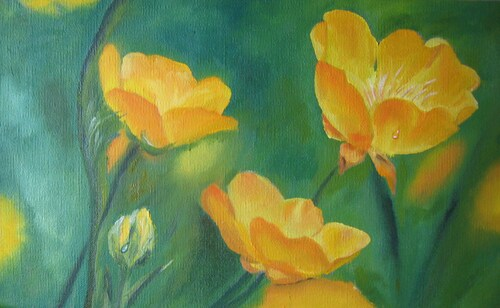 Boutons d'or, huile sur toile