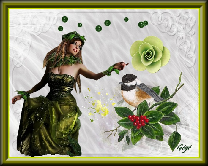 La dame en vert et l'oiseau
