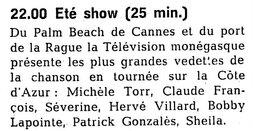 12 juillet 1970 / ETE SHOW  TMC - INTROUVABLE