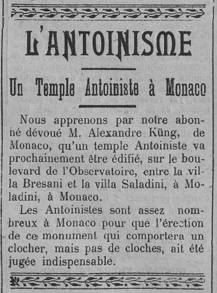 Un Temple Antoiniste à Monaco (Le Fraterniste, 6 juin 1913)